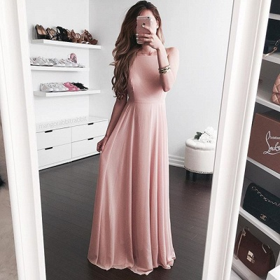 2019 Simple Pink A-line Prom Dresses  Long Evening Gowns_3