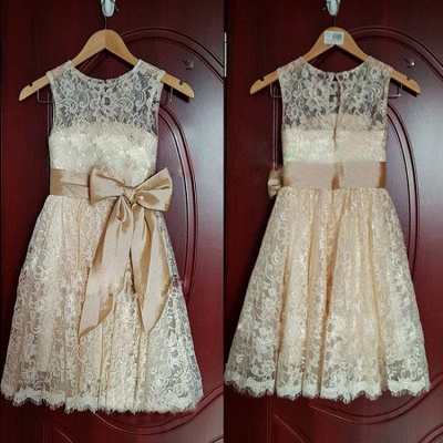 Lovely Short Lace Flower Girl Dress with Bowknot_2