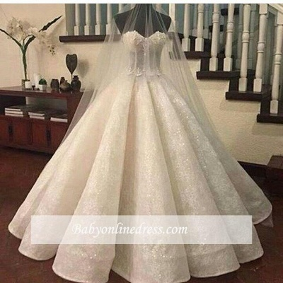 Lace Ruffles Sweetheart Ball-Gown Wedding Dresses | Fashionable Bridal Gowns_1