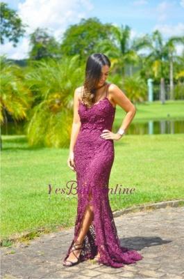 Sleeveless Long Elegant Split Spaghetti-Straps Full-Lace Prom Dress_1