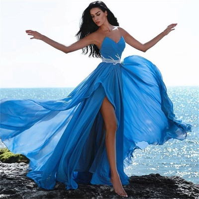 Simple Blue Sweetheart Evening Dresses | Crystal Side Slit Cheap Prom Dress_3