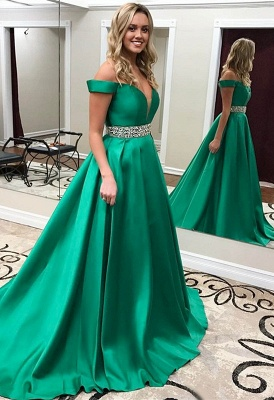Off-the-Shoulder Gorgeous Green Crystal Prom Dress_2
