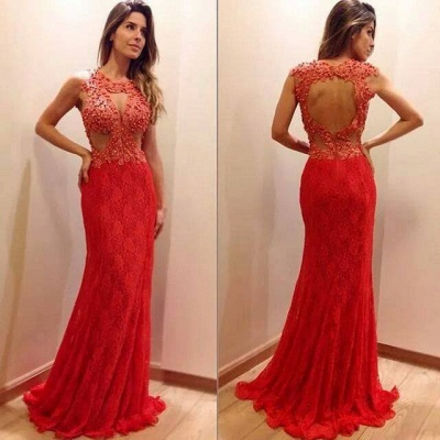 Sexy Mermaid Sleeveless Lace Appliques-Appliques Newest Sweep-Train Prom Dress_3