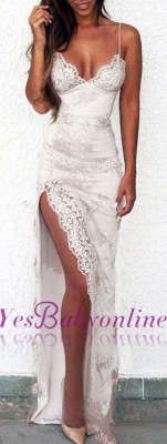 Sweetheart Side-Slit Spaghettis Lace Sheath Straps Evening Gowns BA3397_1