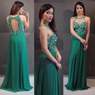 Sleeveless Crystal Green Open-Back Scoop Floor-Length Evening Dress_1