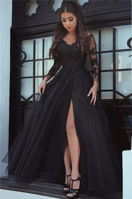 Glamorous Long Sleeves Lace Black  Evening Dresses with a Slit_2