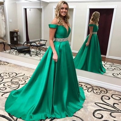 Off-the-Shoulder Gorgeous Green Crystal Prom Dress_3
