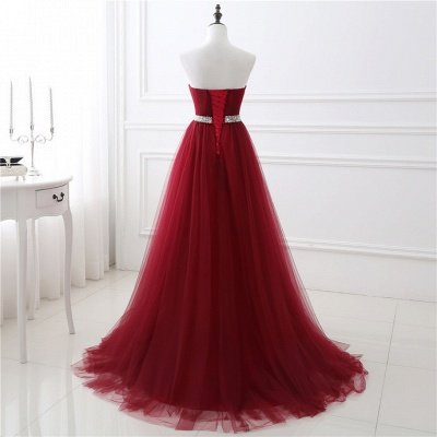 A-Line Strapless Prom Dresses| Floor Length Sweetheart Evening Gowns with Beadings_3