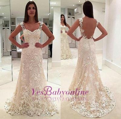 Glamorous Lace Straps Backless Sleeveless Mermaid  Wedding Dresses_1
