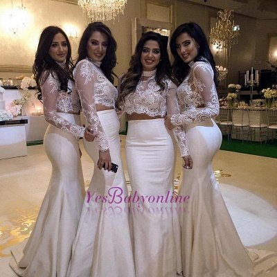 White Mermaid Bridesmaid Dresses Two-Piece Long Sleeves Lace Formal Dresses_1