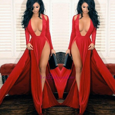 Sexy Red Slits Party Dress Long Sleeves Plunging Neck Pageant Dress_1