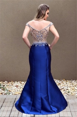 Crystal Sexy Blue Zipper Off-the-Shoulder Prom Dress_3