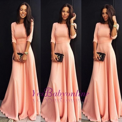 Jewel Elegant Chiffon A-line Half-sleeve Prom Dress_1