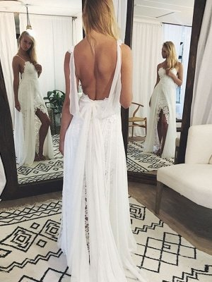 Chic Backless Lace Wedding Dresses | Simple Side Slit Spaghetti -Strap Bridal Gowns_1