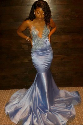 Blue Straps Applique Beading Prom Dresses | Mermaid Evening Gown_1