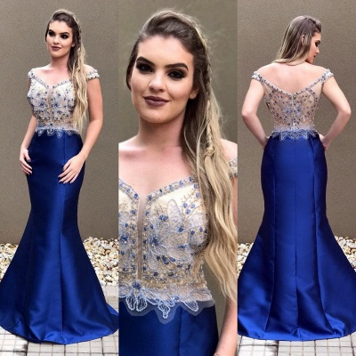 Crystal Sexy Blue Zipper Off-the-Shoulder Prom Dress_4