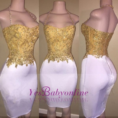 2019 Gold and White Prom Dresses Lace Beading Sheath Short Homecoming Dress_1