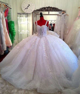 Straps Lace Sparkly Puffy Beading Luxurious Ball-Gown Crystals Wedding Dress_3