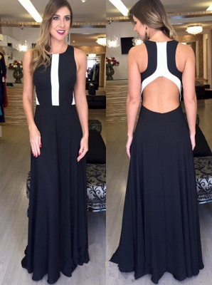 Sleeveless Zipper Black Elegant A-line Long  Prom Dresses_2