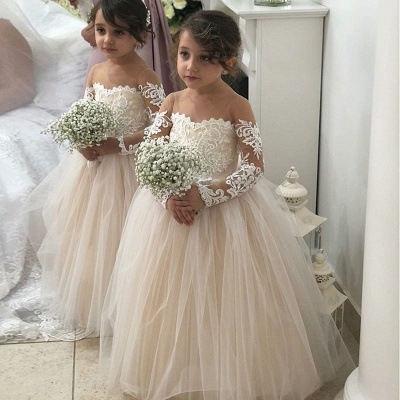 Jewel Long Sleeves Tulle Princess Pink Flower Girl Dresses_4