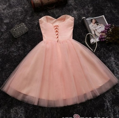 Short Crystals A-line Pink Sweetheart-Neck Elegant Homecoming Dresses_4