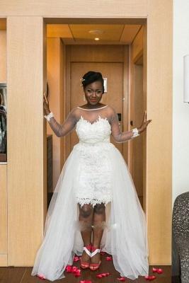 Long Sleeves Mesh Hi-Lo Modern White  Lace Appliques Wedding Dress_2