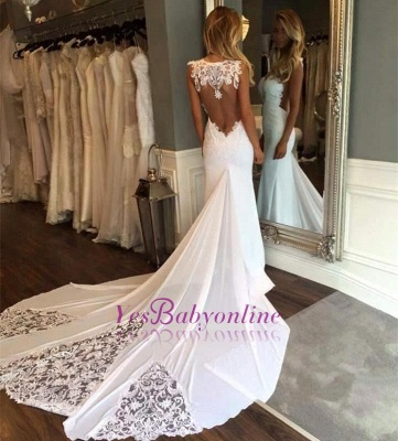 Glamorous Lace Appliques Backless Sleeveless Mermaid Wedding Dresses_1