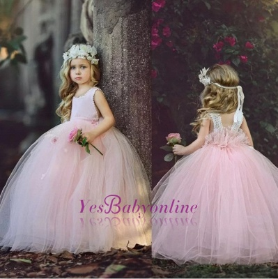 Flower Ball-Gown Pink Long Cute Girl Dresses_1
