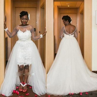 Long Sleeves Mesh Hi-Lo Modern White  Lace Appliques Wedding Dress_3
