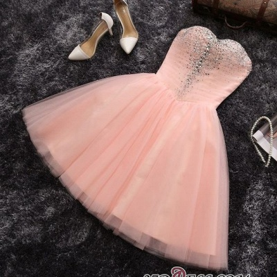 Short Crystals A-line Pink Sweetheart-Neck Elegant Homecoming Dresses_3