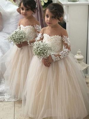 Jewel Long Sleeves Tulle Princess Pink Flower Girl Dresses_1