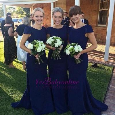 Jewel Mermaid Elegant Dark-Navy Sweep-Train Short-Sleeve Bridesmaid Dress_1