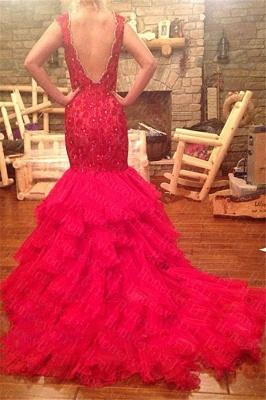 Tiered Beadings Red Mermaid Sleeveless V-Neck Prom Dress_3
