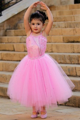 Pretty Pink Crystal Flower Girl Dresses | Open Back Pageant Dress with Detachbale Skirt_1