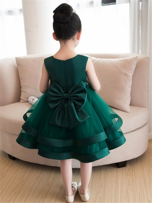 Lovely A-Line Flowers Bowknot Girls Party Dress | Tulle Layers Flower Girl Dresses_2