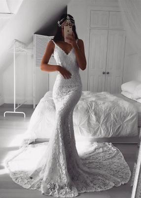 Lace V-neck White Sexy Mermaid Wedding Dress | Affordable Bridal Dresses_1