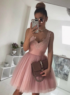 Chic Sleeveless Homecoming Dresses   A-Line Pink Cocktail Dresses_1