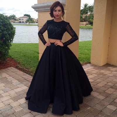Appliques Black A-Line Long-Sleeves Two-Pieces Crystal Prom Dress_3