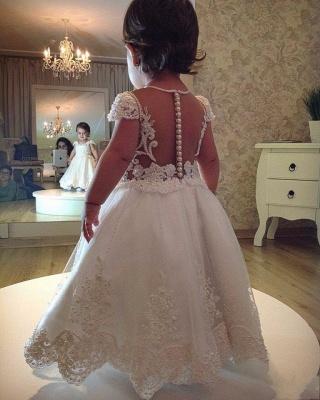 White Princess Flower Girl Dresses | Short Sleeves Pearls Girl Long Party Dress_3