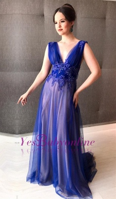 V-Neck Sleeveless Appliques Royal Blue A-line Prom Dress_1
