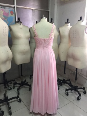 Straps Pink Simple Ruffles A-Line Floor-Length Newest Prom Dress_3