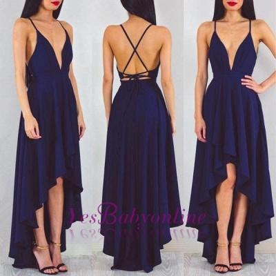 A-line Sleeveless Sexy Spaghetti-StrapS Hi-Lo Prom Dress_1