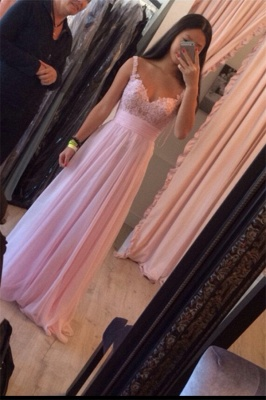 Straps Pink Simple Ruffles A-Line Floor-Length Newest Prom Dress_2