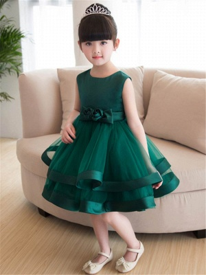 Lovely A-Line Flowers Bowknot Girls Party Dress | Tulle Layers Flower Girl Dresses_1