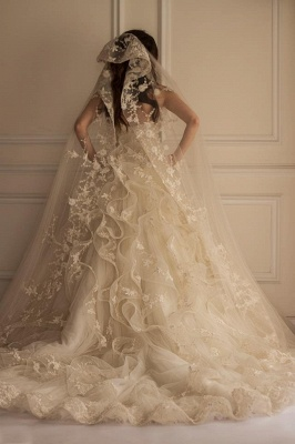 Beautiful Appliques Lace Off-the-shoulder Tulle Wedding Dress_3