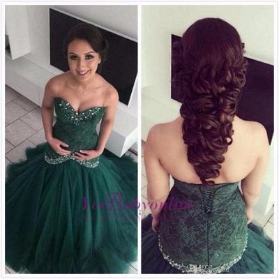 Dark-Green Mermaid Glamorous Sweetheart Lace Evening Dress_1