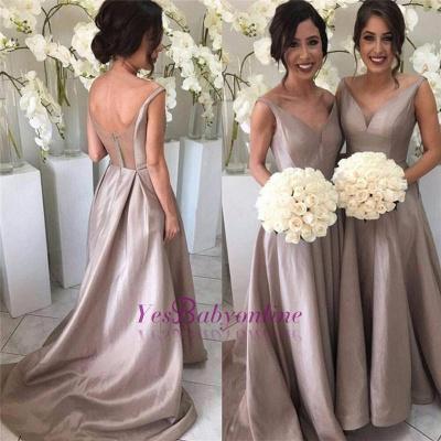 Sheer-Tulle V-neck Open-Back Simple Stretch-Satin Sleeveless Bridesmaid Dress_1