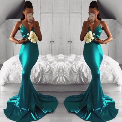 Spaghetti-Strap Sleeveless Mermaid Green Sexy Prom Dress_2