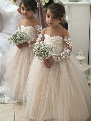 Jewel Long Sleeves Tulle Princess Pink Flower Girl Dresses_1