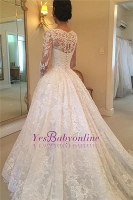 Glamorous  Puffy Buttons Court-Train Long Sleeves Squared Lace Wedding Dress_1